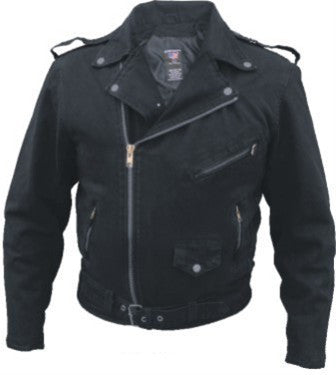 Men's Basic Black or Blue Denim Motorcycle Jacket 14oz