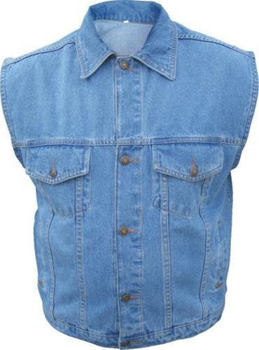 Men's 14.5oz. Denim Vest with Collar in Black or Blue