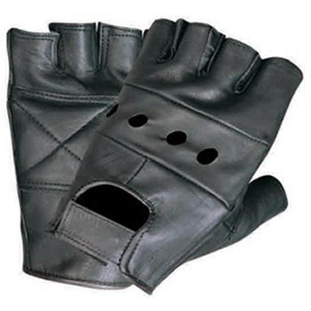 Leather Fingerless Motorcycle Gloves with Padded Palm