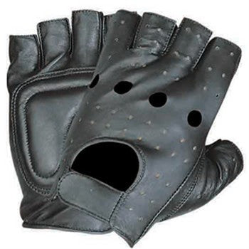 Leather Fingerless Motorcycle Gloves With Studded Vented Back