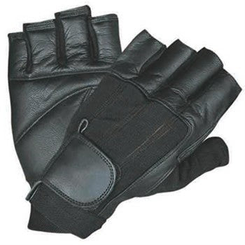 Leather Fingerless Motorcycle Gloves with Black Spandex