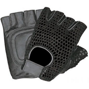 Leather Fingerless Motorcycle Gloves with Black Mesh and Padded Palm