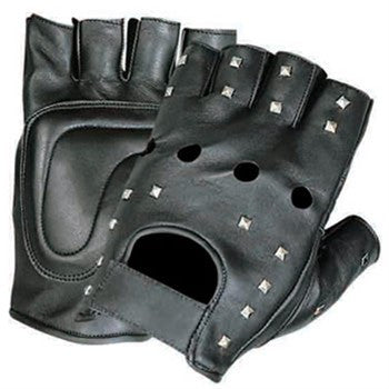 Leather Fingerless Motorcycle Gloves with Studs