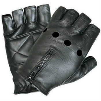 Leather Fingerless Motorcycle Gloves with Zippered Back