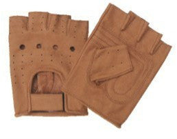 Brown Leather Fingerless Motorcycle Gloves with Vented Back