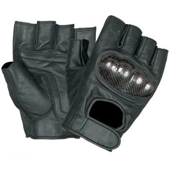 Leather Fingerless Motorcycle Gloves with Kevlar Knuckles