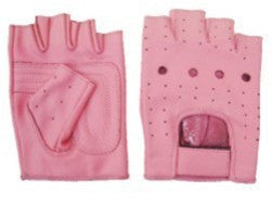 Ladies Pink Leather Fingerless Motorcycle Gloves with Padded Palm