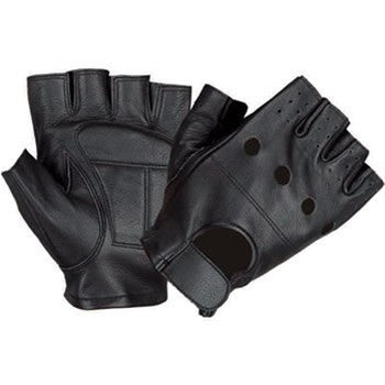 Lambskin Leather Fingerless Motorcycle Gloves With Vented Back
