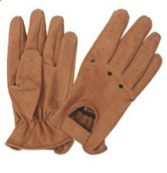 Brown Leather Full finger Vented Driving Gloves