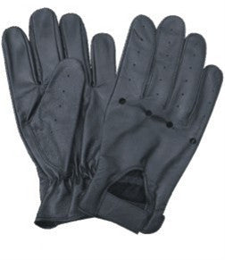 Black Leather Driving Gloves with Holes on the Knuckles