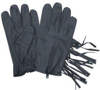 Black Leather Driving Gloves with Fringes and Zippered Back