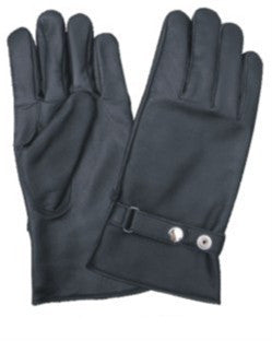 Full Finger Leather Lined Driving Gloves with Snap Button Strap