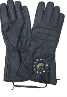Gauntlet Leather Motorcycle Gloves with Antique Brass Concho Lightly Lined