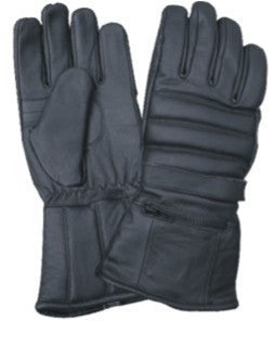 Padded Naked Leather Motorcycle Riding Gloves with Rain Cover