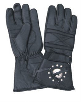 Padded Motorcycle Riding gloves with Silver Concho & Studs