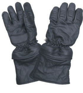 Padded Leather Motorcycle Riding Gloves with Removable Zippered Cuffs