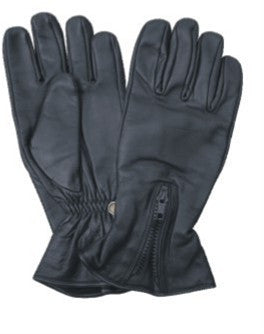 Leather Motorcycle Riding Gloves with Zippered Back