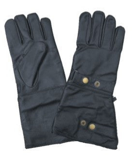 Leather Motorcycle Gauntlet Riding Gloves Lined with 2 Snap Closure