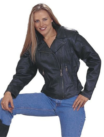 Ladies Classic Naked Leather Patrol Style Motorcycle Jacket Braid Trim