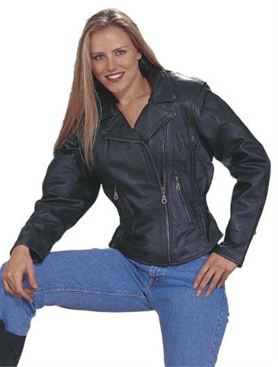 Ladies Classic Split Leather Patrol Style Motorcycle Jacket Braid Trim