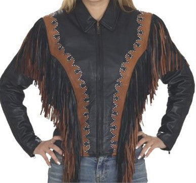 Women's Black and Brown Leather Motorcycle Jacket with Fringes