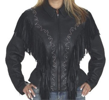 Ladies Black Leather Motorcycle Jacket with Fringes and Stud Design