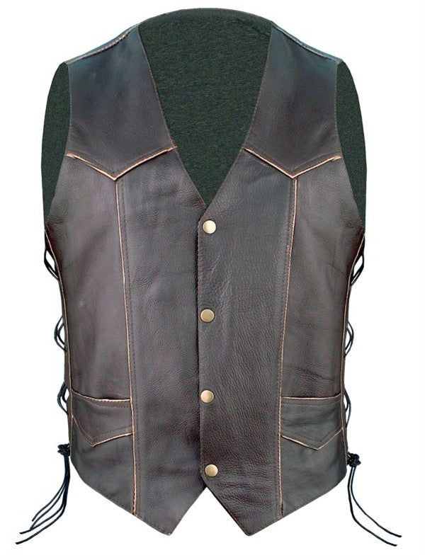 Men's Retro Black Leather Motorcycle Vest Eagle on Back
