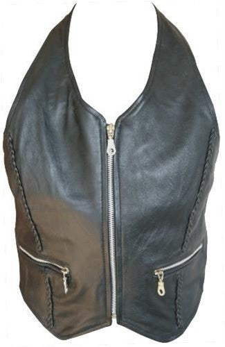 Ladies Lambskin Leather Halter Top with Braid & Silver Zippered Front