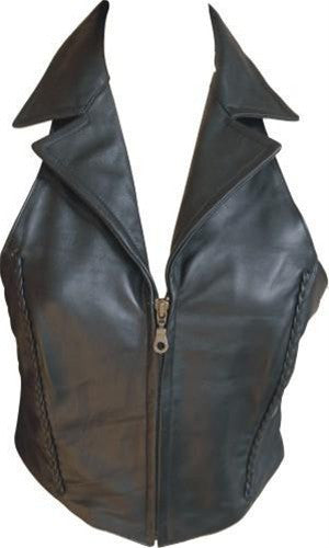 Ladies Lambskin Leather Halter Top with Braid Zippered Front and Collar