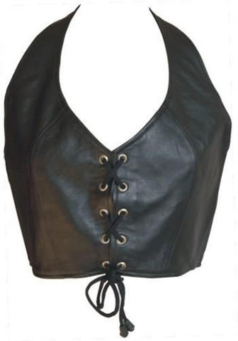 Ladies Lambskin Leather Halter Top with Lace up Front
