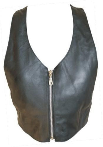 Ladies Lambskin Leather Halter Top with Zip up Front