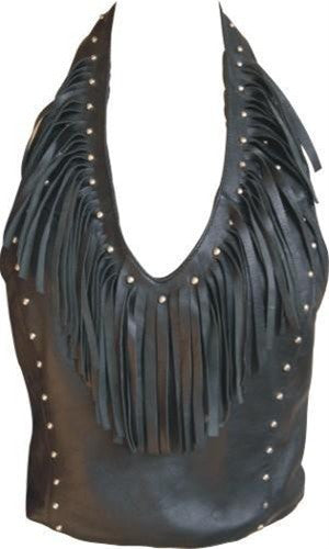 Ladies Lambskin Leather Halter Top with Fringes and Studs