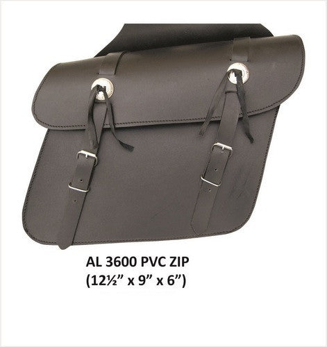 PVC Plain Throwover Motorcycle Saddlebags Zippered Flaps