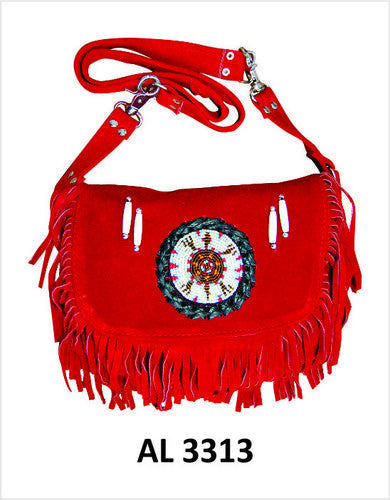 Ladies Red Suede Leather Handbag with Fringes and Beads
