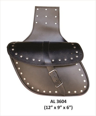 Studded Leather Throwover Motorcycle Saddlebags