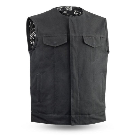20 oz. Canvas Motorcycle Club Style Vest With Preacher Collar Gun Pockets Solid Back