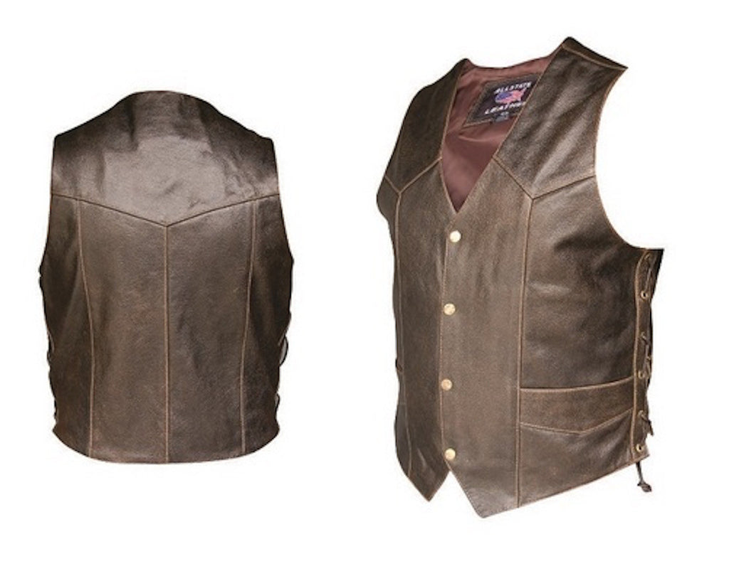Men's Retro Brown Buffalo Leather Side Laced Motorcycle Vest