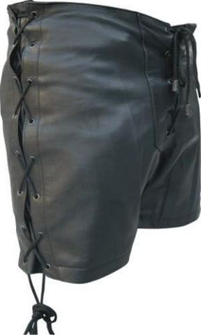 Ladies Lambskin Leather Shorts with Laced Sides and Front