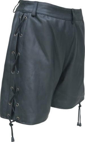 Ladies Lambskin Leather Shorts with Side Laces