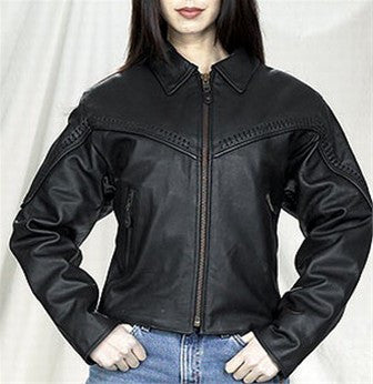 Ladies Butter Soft Cowhide Motorcycle Jacket with Flat Braid Trim