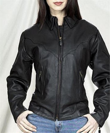 Ladies Top Grade Leather Motorcycle Jacket with Etched Trim