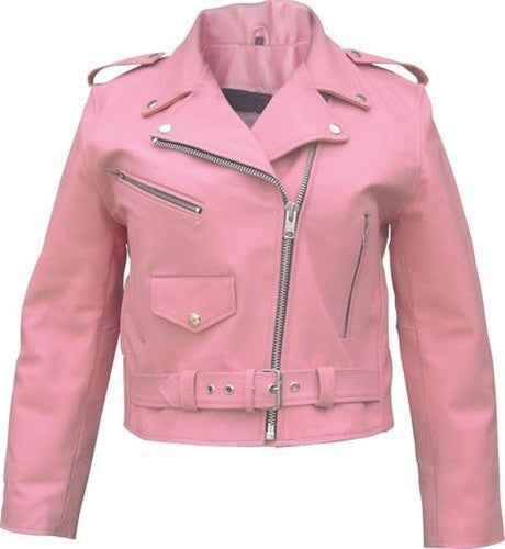Ladies Pink Basic Full Cut Classic Leather Motorcycle Jacket