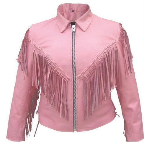 Ladies Pink Motorcycle Jacket with Braid Fringes and Side Laces