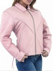 Ladies Soft Pink Leather Motorcycle Jacket with Braid Trim