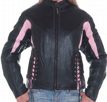 Ladies Black & Pink Leather Racer Jacket Side Laces & Zip Out Lining