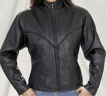 Ladies Heavy Duty Split Leather V Lace Braid Biker Jacket with Round Collar