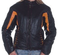 Ladies Black & Orange Leather Racer Jacket with Sidelaces