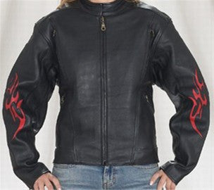 Ladies Vented Leather Motorcycle Jacket Flame on Sleeves and Back Side Laces
