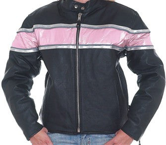Women's Leather Jacket Pink Stripe & Double Silver Reflector Stripes