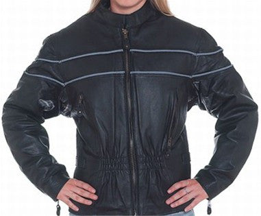 Women's Leather Motorcycle Jacket with Double Reflector Stripes